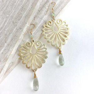 Art Deco Earrings w/ Green Amethyst Drop